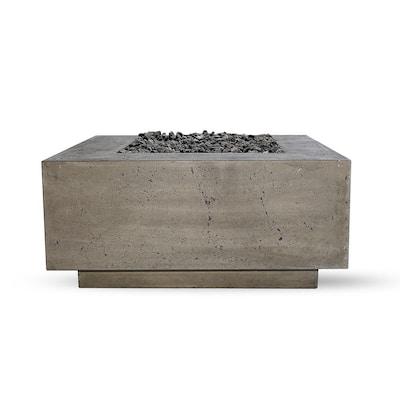 Santa Rosa 36 in. x 16 in. Square Concrete Liquid Propane Fire Pit in Pewter W/27 lbs. Bag of 0.75 in. Black Lava Rocks