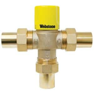 3/4 in. SWT Brass LF TMV W/Integral Check Valve & Temp. Locking Handle for Low Temp Hydronic Heat & Water Distr. Systems