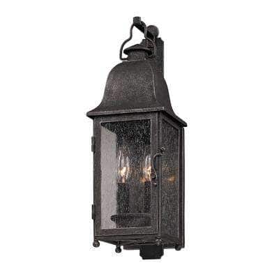 Larchmont 2-Light Aged Pewter Outdoor Wall Lantern Sconce