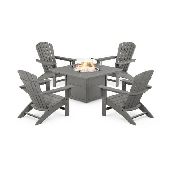 Polywood Grant Park 5 Piece Plastic Patio Adirondack Conversation Set With Fire Pit Table Pws542 1 Gy The Home Depot