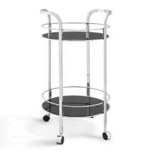 Haskins Silver and Black Glass Bar Cart