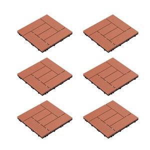 12 in. x 12 in. Outdoor Interlocking Criss Cross Polypropylene Patio and Deck Tile Flooring in Terracotta (Set of 6)