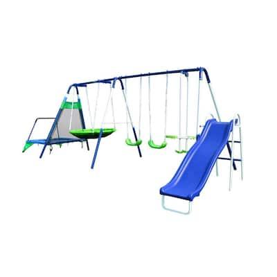 Mountain View Metal Swing, Slide and Trampoline Set