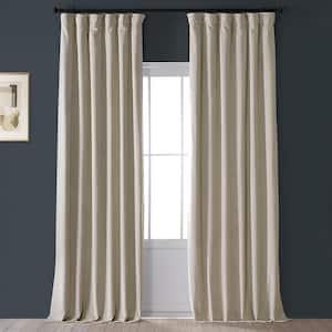 Cool Beige Velvet Rod Pocket Blackout Curtain - 50 in. W x 108 in. L