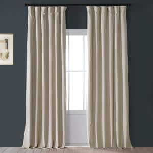 Cool Beige Velvet Rod Pocket Blackout Curtain - 50 in. W x 96 in. L