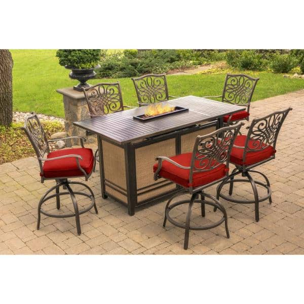 Hanover Traditions 7 Piece Aluminum Outdoor Bar Height Dining Set With Red Cushions 30 000 Btu Fire Pit Table Trad7pcfpbr The Home Depot