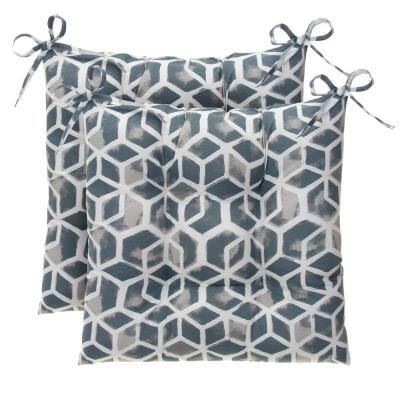 Cubed Grey Square Tufted Outdoor Seat Cushion (2-Pack)