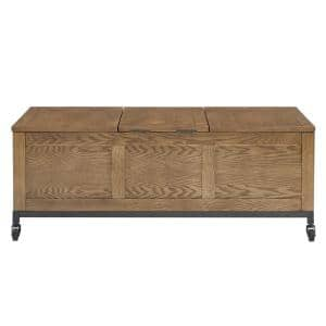 Oak Trunk Rectangular Cocktail Table with Tray and Iron Casters