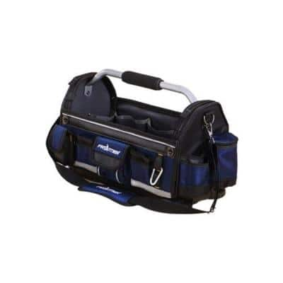 19 in. Open Tote Tool Bag with Rotating Handle in Black and Blue