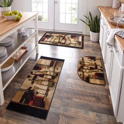 Wine and Glasses Brown 2 ft. 6 in. x 3 ft. 10 in. Machine Washable Kitchen Rug