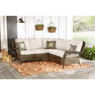 Beacon Park 3-Piece Brown Wicker Outdoor Patio Sectional Sofa with CushionGuard Almond Tan Cushions