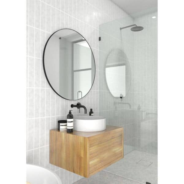 Glass Warehouse 32 In W X 32 In H Framed Round Bathroom Vanity Mirror In Black Mf R 32 B The Home Depot