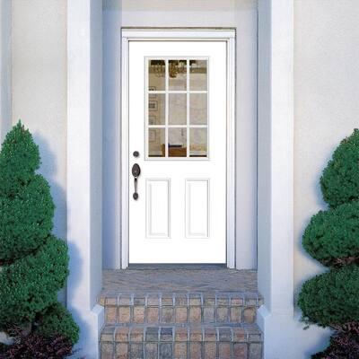 32 in. x 80 in. Premium 9 Lite Left Hand Inswing Primed Smooth Fiberglass Prehung Front Door with Brickmold