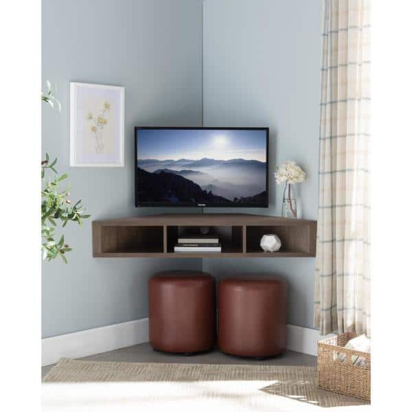 Furniture Of America Emmeline 47 In Walnut And Oak Particle Board Corner Tv Stand Fits Tvs Up To 52 In With Cable Management Idi 182359 The Home Depot