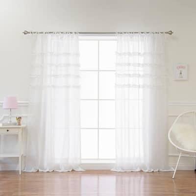 White Solid Tie Top Room Darkening Curtain - 52 in. W x 84 in. L (Set of 2)