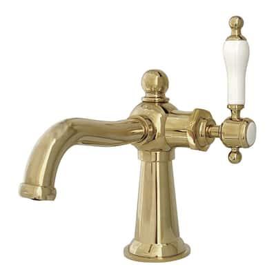 Whitaker Single Hole Single-Handle Bathroom Faucet in Polished Brass