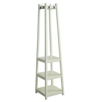 White 8-Hook Coat Rack