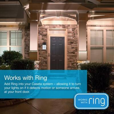 Caseta Wireless Smart Lighting Dimmer Switch Starter Kit with Ring 1080p HD Video Wired Smart Doorbell Camera