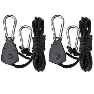 1/8 in. Heavy Duty Ratchet Hanger Adjustable Grow Light Rope Clip Carabiner Light Hanger Pair