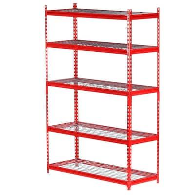 Red 5-Tier Heavy Duty Garage Storage Shelving Unit (48 in. W x 72 in. H x 18 in. D)