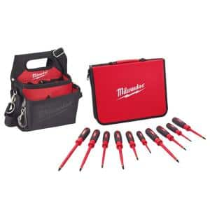 10-Piece 1000-Volt Insulated Screwdriver Set with Electricians Work Pouch/Holster