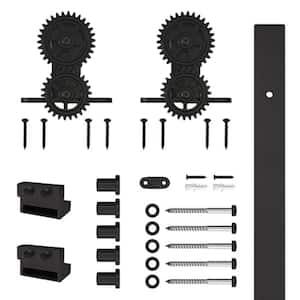 78-3/4 in. Gear Strap Black Rolling Barn Door Hardware Kit with 2-3/4 in. Wheel