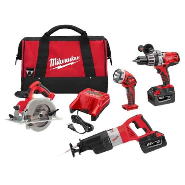 3.0 Ah Batteries Charger 2 Milwaukee Lithium-Ion Cordless Combo Tool Kit 4-Tool