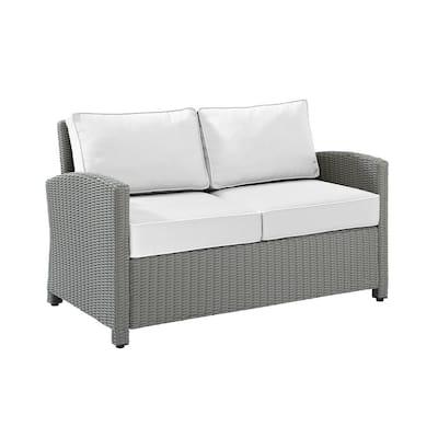 Bradenton Gray Wicker Outdoor Loveseat with Sunbrella White Cushions