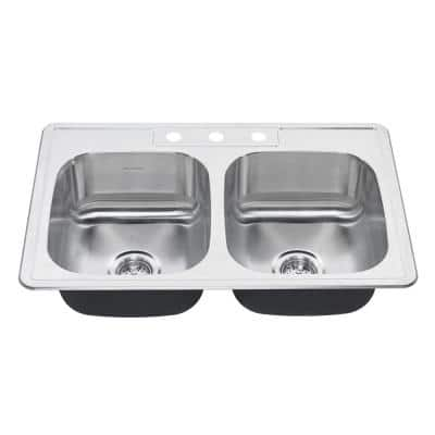Colony Pro Drop-In Stainless Steel 33 in. 3-Hole Double Bowl Kitchen Sink Kit