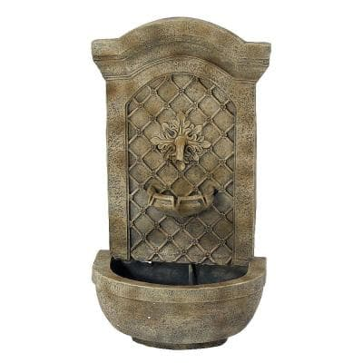 Rosette Leaf Florentine Stone Electric Powered Outdoor Wall Fountain