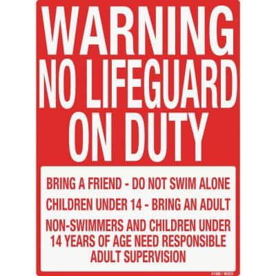 Sign for Residential Swimming Pools, Warn No Lifegaurd on Duty