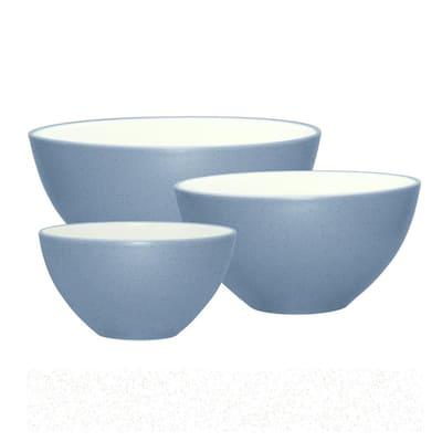 Colorwave Ice Light Blue Stoneware 3-Piece Bowl Set (sm, med, lrg)
