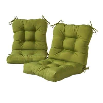 Solid Summerside 21 in. x 42 in. Green Outdoor Dining Chair Cushion (2-Pack)