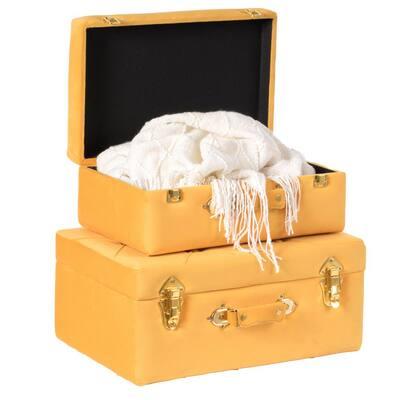 Decorative Yellow Tufted Velvet Suitcase Treasure Chest (Set of 2)