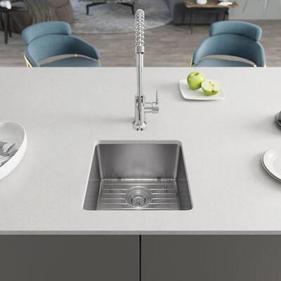 Undermount Stainless Steel 17 in. Single Bowl Kitchen Sink Kit