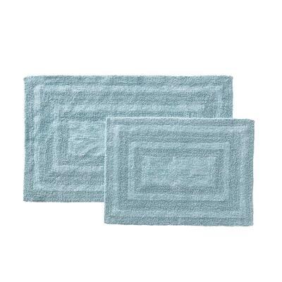Logan Cotton Turquoise-Aqua Solid 2 Piece Rug Set, 17X24/21X34