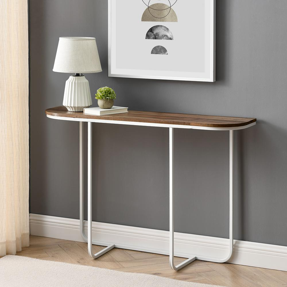 Welwick Designs 44 In Brown White Standard Rectangle Composite Console Table Hd8134 The Home Depot