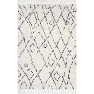 Nieves Moroccan Diamond Tassel Off-White 9 ft. x 12 ft. Area Rug