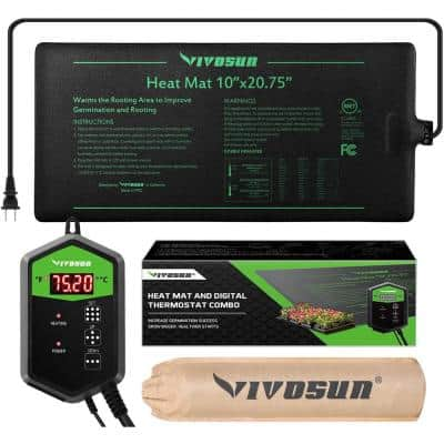 10 in. x 20.75 in. Seedling Heat Mat and Digital Thermostat Combo Set