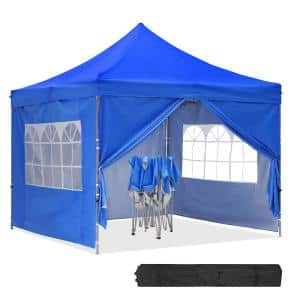 10 ft. x 10 ft. Blue Instant Folding Canopy with 4 Sidewalls and Roller Bag for Party
