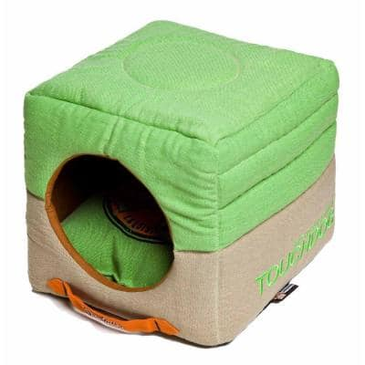 Squared 2-in-1 Collapsible One-Size Mint Green and Khaki Bed