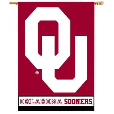 NCAA 28 in. x 40 in. Oklahoma 2-Sided Banner with Pole Sleeve