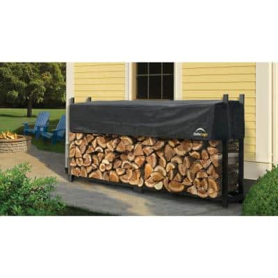 8 ft. W x 4 ft. H x 1 ft. D Ultra-Duty, High-Grade Steel Firewood Rack with Premium Wood Rack and 2-Way Adjustable Cover