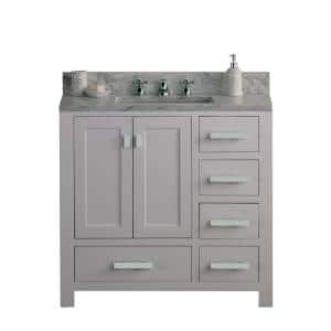 Madison 36 in. W x 34 in. H Vanity in White with Marble Vanity Top in Carrara White with White Basin