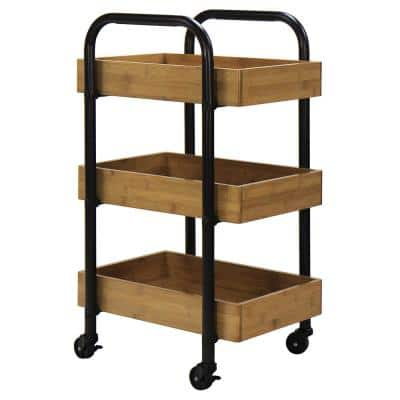 3-Tier Metal Wheeled Portable Storage Cart with Removable Bamboo Trays