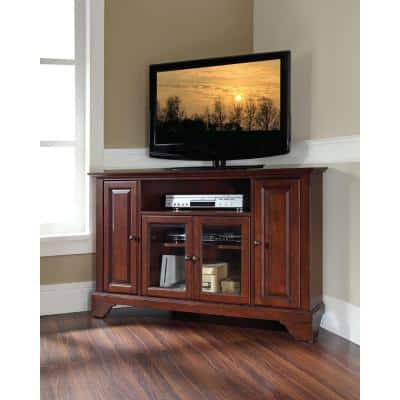 LaFayette 48 in. Mahogany Wood Corner TV Stand Fits TVs Up to 52 in. with Storage Doors