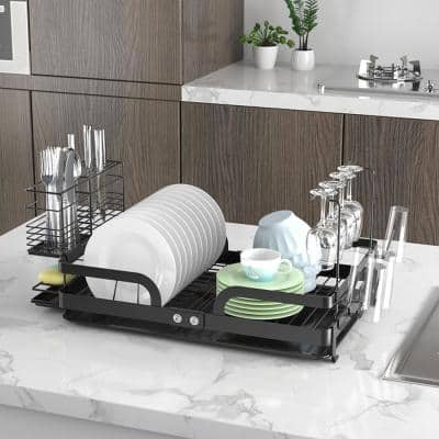 CozyBlock Steel Foldable Dish Rack with Utensil, Cutlery Holder& Glass Hanger;include Extra Large Drainboard Set