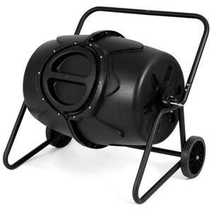 50 Gal. Wheeled Compost Tumbler Garden Waste Bin Grass Trash Barrel Fertilizer