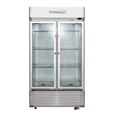 18 cu. ft. Merchandiser Glass Two Door Refrigerator in Grey