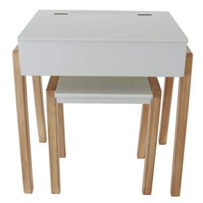 Mid-Century Modern Bright and Natural Wood White Desk and Stool